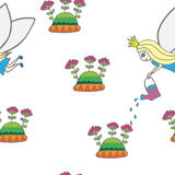 Seamless pattern with fairy pours water flowers Stock Photos