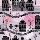 Seamless pattern with fairy tale houses Stock Images