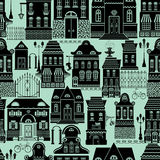 Seamless pattern with fairy tale houses, lanterns, trees. Royalty Free Stock Photos