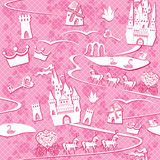 Seamless pattern with fairytale land - castles, la. Kes, roads, mills,carriages and horses - Pink princess background Royalty Free Stock Photo