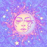 Seamless pattern. Fairytale style sun with a human face resting on a curly ornate cloud. Mandala tattoo. Royalty Free Stock Image