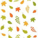 Seamless pattern of falling autumn leaves on a white background. Colorful leaves of different trees. Vector illustration stock illustration