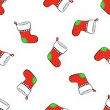 Seamless pattern with falling Christmas red socks for gifts with contour. Seamless vector illustration. Pattern with falling Christmas red socks for gifts on Stock Images