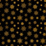 Abstract pattern of falling snowflakes. Seamless pattern of falling golden snowflakes on black background. Elegant pattern for banner, greeting, Christmas and Royalty Free Stock Photos