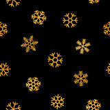 Seamless pattern of falling golden snowflakes. On black background. Elegant pattern for Christmas or New year background, festive banner, card, invitation Royalty Free Stock Image