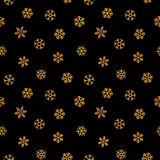 Abstract pattern of falling snowflakes. Seamless pattern of falling golden snowflakes on black background. Elegant pattern for banner, greeting, Christmas and Stock Photo