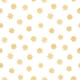 Abstract pattern of falling snowflakes. Seamless pattern of falling golden snowflakes on white background. Elegant pattern for banner, greeting, Christmas and Stock Photos