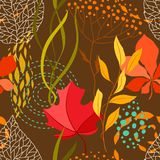 Seamless pattern with falling leaves. Natural illustration of autumn foliage Royalty Free Stock Photos