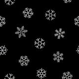 Seamless pattern of falling silver snowflakes. On black background. Elegant pattern for Christmas or New year background, festive banner, card, invitation Royalty Free Stock Photo