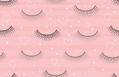 Seamless pattern false eyelash. Background for the beauty salon. Decorative cosmetics and makeup. Closed eye. Eyelashes royalty free illustration
