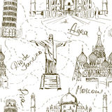 Seamless pattern of famous landmarks Stock Photo