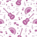 Seamless pattern with fan, shoes, castanets, notes, guitars. Travel and leisure. Traditional symbols of Spain