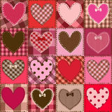 Seamless pattern of fancy heart patchworks Royalty Free Stock Image