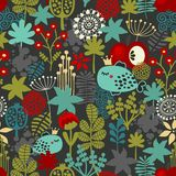 Seamless pattern with fantastic flora and fish. Royalty Free Stock Image