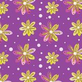 Seamless pattern from fantastic flowers on a lilac background. stock photography