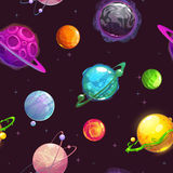 Seamless pattern with fantasy cartoon planets Royalty Free Stock Images