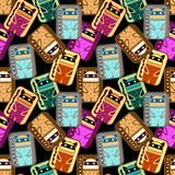 Seamless pattern with fantasy cat Stock Images