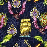 Seamless pattern with fantasy dragon, old sailboat, anchor and decorated compass vector illustration