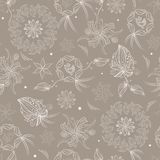 Seamless pattern with fantasy flora Royalty Free Stock Image