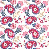 Seamless pattern with fantasy flowers, leaves, paisley and hearts isolated on white background in vector. Natural wallpaper. Gift wrap, print for fabric stock illustration