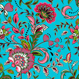 Seamless pattern with fantasy flowers, natural wallpaper, floral decoration curl illustration. Paisley print hand drawn. Seamless pattern with fantasy flowers Stock Photos
