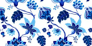 Seamless pattern with Jacobean  flowers Royalty Free Stock Images