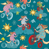 Seamless pattern with fantasy horses. Pegasus rides a bicycle in the sky stock illustration