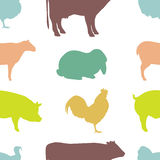 Seamless pattern with Farm Animal silhouettes. Stock Photography