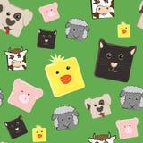 Seamless pattern with farm animals. Seamless pattern with squared farm animals Royalty Free Stock Photo
