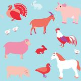 Seamless pattern with farm animals Royalty Free Stock Photo