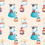 Seamless pattern with farm animals vector illustration
