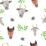Seamless pattern with farm animals - horses, cows and goats, green leaves .. watercolor illustrations for prints, design, textiles