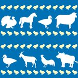 Seamless pattern with farm animals. Silhouettes royalty free illustration