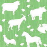Seamless pattern with farm animals silhouettes Stock Photos