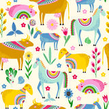 Seamless pattern with farm animals Royalty Free Stock Image
