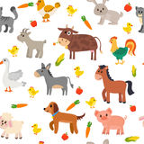 Seamless pattern with farm animals, vegetables and fruits. Cute royalty free illustration