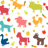 Seamless pattern with farm animals, vegetables, leaves and fruit stock illustration