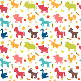 Seamless pattern with farm animals, vegetables, leaves and fruits. Cute background stock illustration