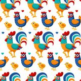 Seamless pattern from farm birds family cartoon flat illustration. Rooster hen chicken egg. Vector background vector illustration