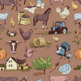 Seamless pattern with farm related items Royalty Free Stock Photos