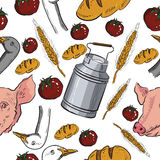 Seamless pattern with farm related items Stock Photos