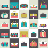 Seamless pattern with fashion bags and clutches in various shapes and sizes. Geometric  illustration, based on dark and whit Royalty Free Stock Photo