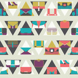 Seamless pattern with fashion bags and clutches in various shapes and sizes. Geometric  illustration, based on dark and whit Royalty Free Stock Photos