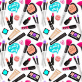 Seamless pattern fashion makeup items patch badges with speech bubbles. Vector background with stickers, pins, patches in cartoon comic style on white stock illustration