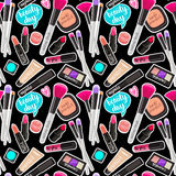 Seamless pattern fashion makeup items patch badges with speech bubbles. Vector background with stickers, pins, patches in cartoon comic style on black stock illustration