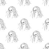 Seamless pattern fashion model portrait Royalty Free Stock Images
