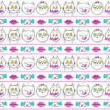 Seamless pattern with fashion patch badges with cats, lips and envelopes. Vector background with stickers, pins, patches  Royalty Free Stock Photo