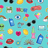 Seamless pattern with fashion patch badges with elements in cartoon 80s-90s comic style.Vector background. Seamless pattern with fashion patch badges with Stock Photography