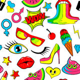 Seamless pattern of fashion patch badges. lips, kiss, heart, speech bubble, star, ice cream, lipstick, eye, shit. Vector Royalty Free Stock Images