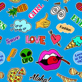 Seamless pattern with fashion patch badges. Pop art. Vector background stickers, pins, patches in cartoon 80s-90s comic. Seamless pattern with fashion patch Royalty Free Stock Image